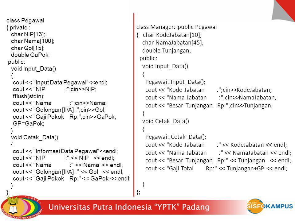 class Manager: public Pegawai { char KodeJabatan[10];